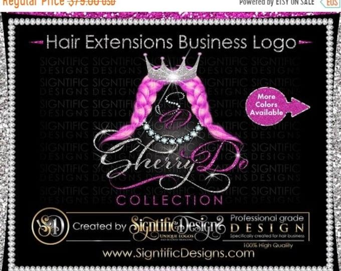 Hair Extensions Logo, Hair Weave Logo, Hair Logo, Extension Logo, Pink Weaves Logo, Glitter Bling Logo, Hair Bundle Logo, Hair Label Logo