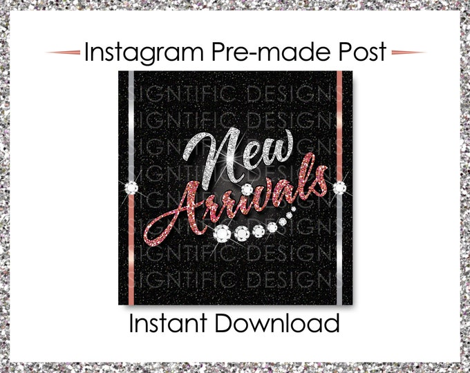 Instant Download, Hair Extensions Post, New Arrivals, Instagram Post, Glitter silver, Glitter Rose Gold, Digital Flyer, Instagram Flyer Post