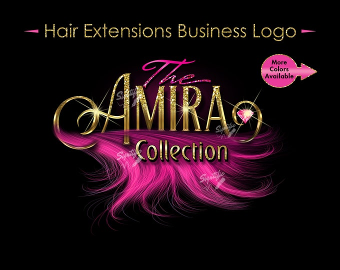 Hair Extensions Logo, 3D Hair Logo, Bundle Logo, Wig Business Logo, Hair Wrap Logo, Glitter Logo, Wig Logo, Pink Hair Logo, Hair Branding