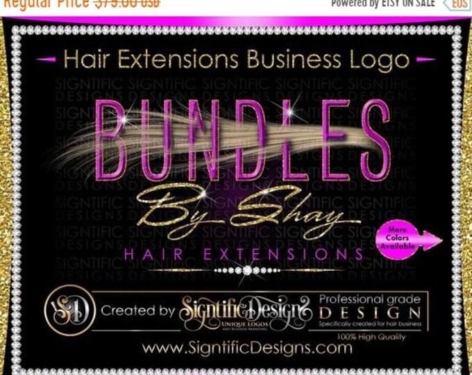 Hair Extensions Logo, 3D Hair Logo, Hair Business Logo, Bundle Logo, Hair Wrap Logo, Glitter Logo, Wig Logo, Fuchsia Hair Logo, Hair Brand