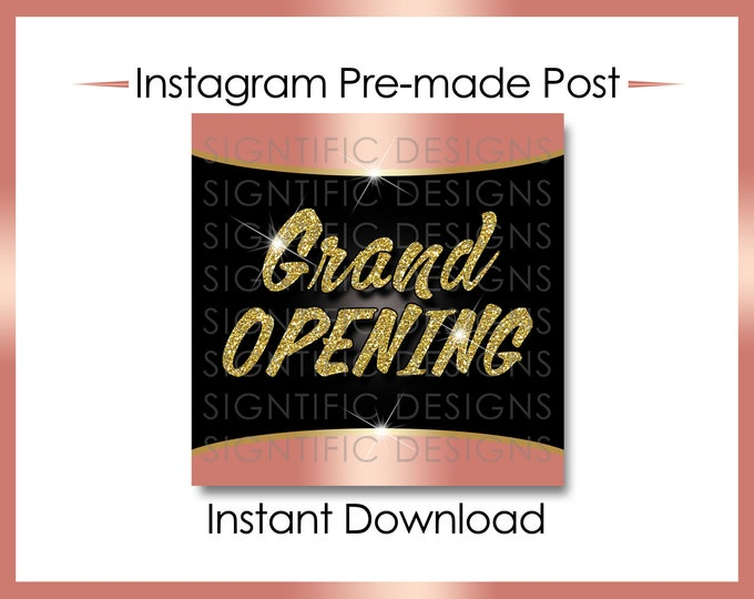 Instant Download, Grand Opening, Hair Extension Flyer, Instagram Post, Gold Rose Gold Flyer, Online Flyer, Instagram Flyer, Glitter IG post