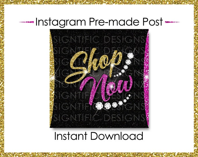 Instant Download, Shop Now, Bundle Flyer, Hair Extensions Post, Instagram Post, Instagram Caption, Digital Online Flyer, Gold and Pink Post