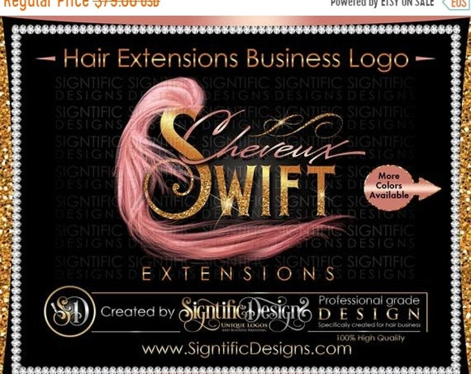 Hair Extension Logo, Hair Bundles Logo, Hair Business Logo, Hair Branding, Glitter Logo, Bling Logo, Rose Gold Logo, Gold Logo, Wrap Logo