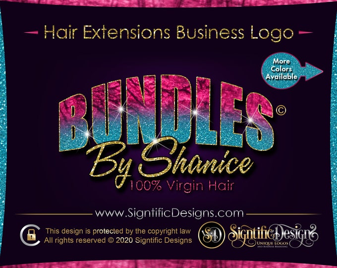 Hair Business Logo, Glitter Ombre Logo, Hair Extensions Logo, Hair Company Logo, Bundle Logo, Shimmer Logo, Business Logo, Hair Branding