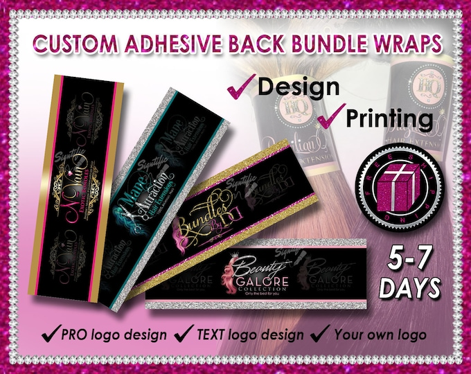 Custom Bundle Wraps, Hair Wrap Design, Hair Band Printing, Bundle Wrap Logo, Bundle Band, Hair Label, Printable Wraps, Hair Branding Design