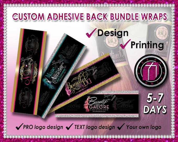 Custom Bundle Wraps, Hair Wrap Design, Hair Band Printing, Bundle Wrap Logo, Bundle Band, Hair Label, Printable Wraps, Hair Branding Design