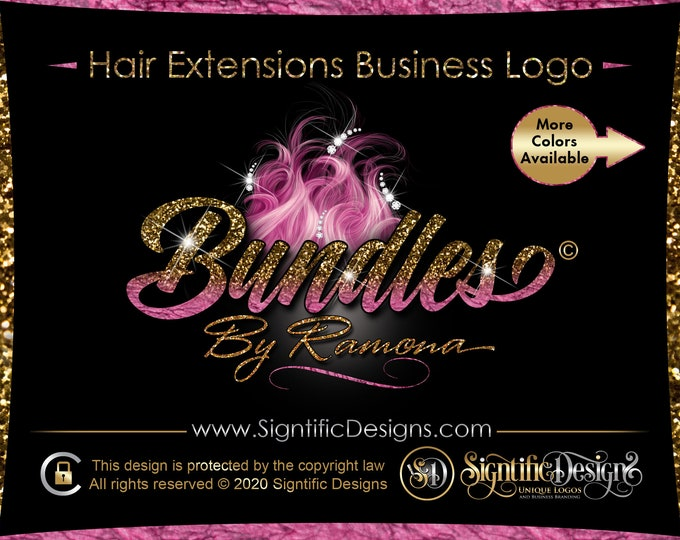 Hair Extension Logo, Glitter Hair Logo, Hair Company Logo, Diamond Logo, Hair Business Logo, Flying Hair Logo, Diamond Hair Logo, Wig Logo