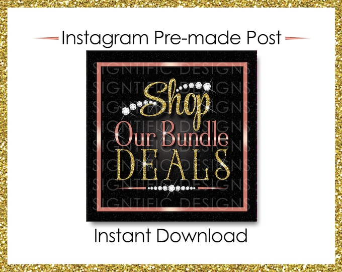 Instant Download, Shop Our Bundle Deals, Glitter Bundle Flyer, Hair Extensions Post, Instagram Post, Glitter Gold Rose Gold, Digital Flyer
