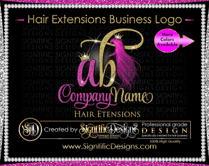 Hair Extension Logo, Hair Bundle Logo, Extensions Logo, Hair Business Logo, Wig Logo, Fuchsia hair Logo, Hair Branding, Glitter Bling Logo
