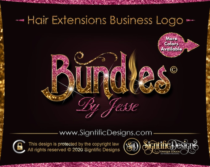 Hair Company Logo, Glitter Hair Logo, Bling Logo, Hair Bundle Logo, Logo Hair, Hair Extension Logo, Hair Collection Logo, Wig Logo Design