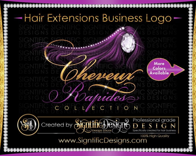 Hair Extension Logo, Hair Logo Design, Hair Business Logo, Wig Logo, Hair Bundle Logo, Extensions Logo, Bling Diamond Logo, Glitter Logo