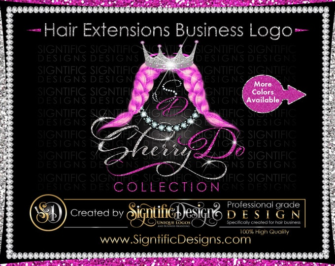 Hair Extensions Logo, Hair Weave Logo, Hair Logo, Extension Logo, Pink Weaves Logo, Glitter Bling Logo, Hair Bundle Logo, Hair Label Logo