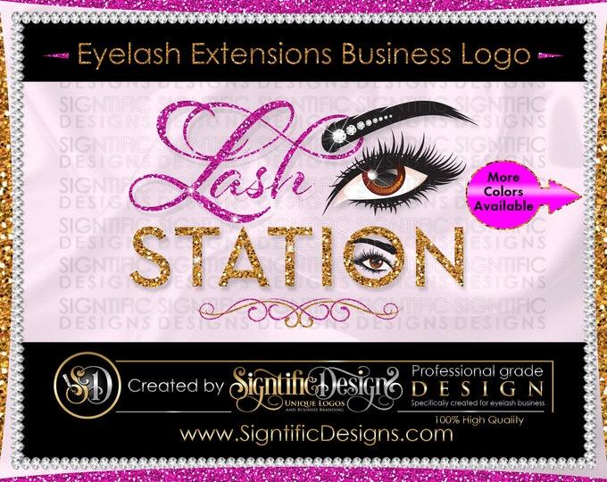 Eyelash Extensions Logo, Lash Logo, Eyelash Business Logo, Glitter logo, Shimmer Logo, Eyelash Branding, Bling Logo, Eye Lash Extension Logo
