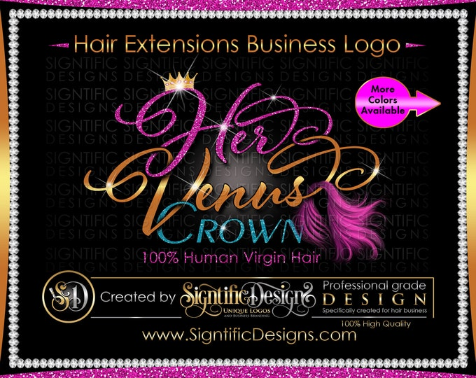 Hair Extension Logo, Hair Business Logo, Wig Logo, Pink Hair Logo, Virgin Hair Logo, Glitter Logo, Hair Branding Logo, Hair Company logo