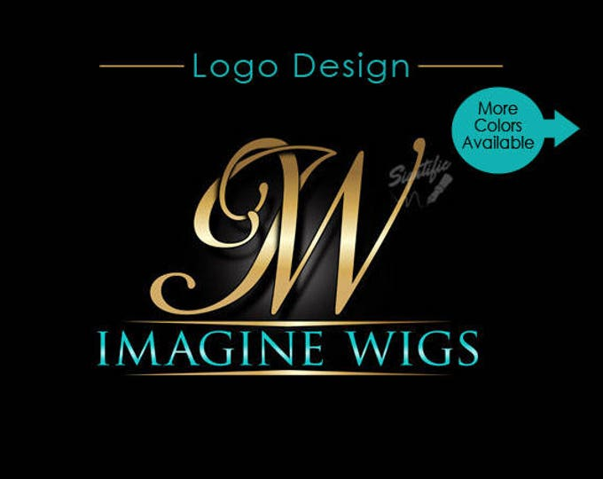 Monogram initials logo, elegant gold initials logo, custom logo design, gold and teal logo, business brand, business name and initials