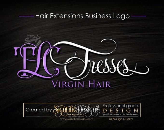 Virgin Hair logo design, Hair Extensions Logo, Hair Salon Logo, Lavender and White Lettering Design, Business Sign Logo, Logo in any Colors