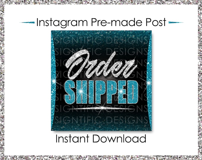 Instant Download, Order Shipped Post, Glitter Silver Teal, Hair Extensions Flyer, Instagram Post, Social Media Flyer, Social Media Post