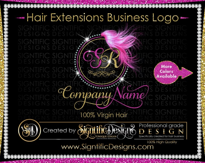 Hair Extensions Logo, Circular Diamond Bling Logo, Glitter Bling Logo, Custom Hair Logo, Hair Bundle Logo, Hair Packaging Logo, Brand Logo
