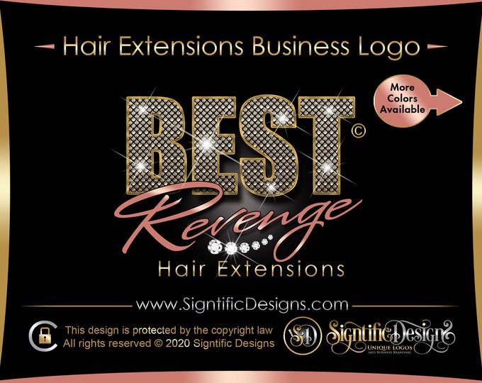 Glitter Bling Hair Logo, Hair Extension Logo, Hair Business Logo, Hair Branding, Diamond Bling Logo, Hair Bundle Logo, Logo Hair Business