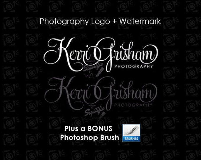 Photography logo, Watermark, Bonus photoshop brush, Photographer Name Signature, Logo for Photography, Photograph Watermark Logo Design