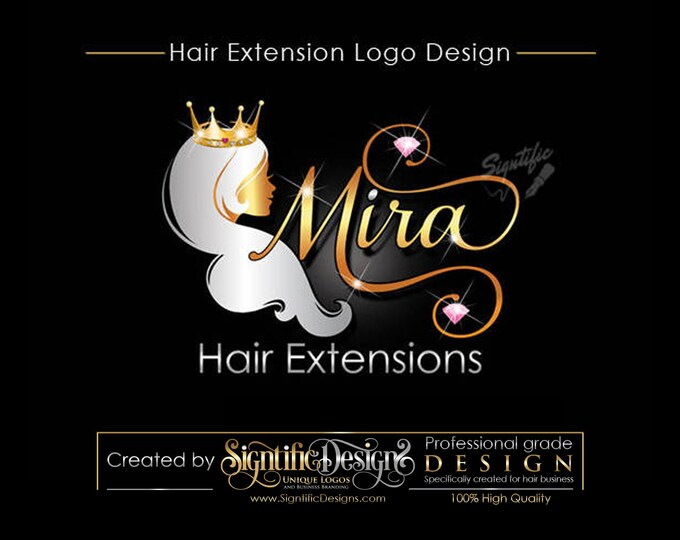 Hair Extensions Logo, Hair Collection Logo, Gold and silver Logo with Crown, Virgin Hair Blings Logo, Hair Salon Logo, Beauty Logo Design