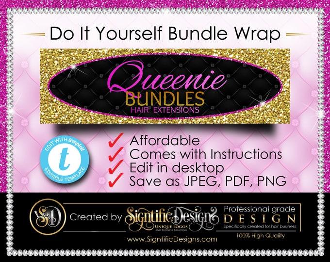 DIY Bundle Wrap Template, Glitter Gold Pink Editable Hair Label, Glitter Gold Hair Labels, Shimmer Hair Bundle Wrap Design, Bling Wrap