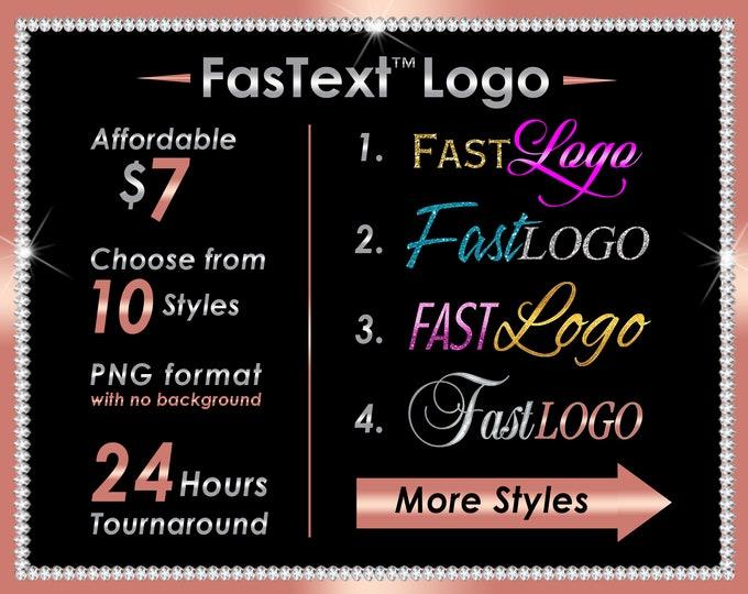 Fast Text Logo, Fast Hair Logo, Affordable Logo, Fast Logo, 24 Hour Logo, Hair Extensions Logo, Linear Logo, Glitter Logo, Shimmer Logo