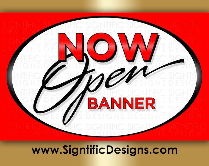 Now Open Banner, Full Color Banner, New Business Banner, Shop Banner, Printed Banner, Outdoor Banner, Store Banner, Storefront Banner