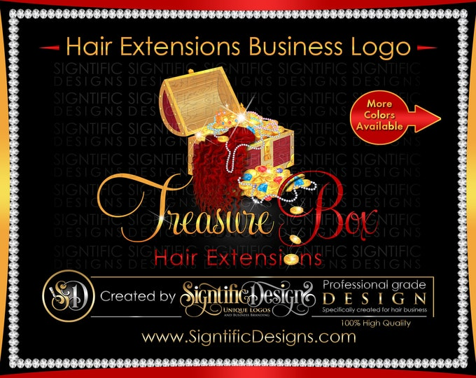 Hair Extension, Logo, Hair Bundle Logo,Treasure Chest Logo, Hair Treasure Logo, Bundle Bling Logo, Hair Packaging Logo, Hair Branding Logo