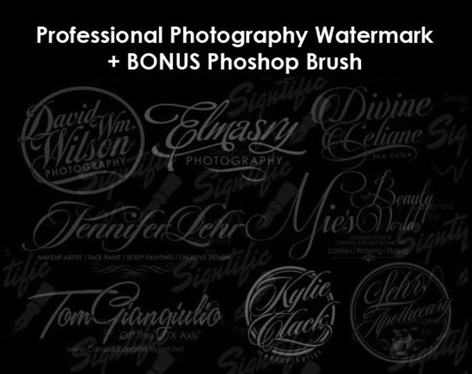 Custom Photography Watermark Plus Photoshop Brush Preset