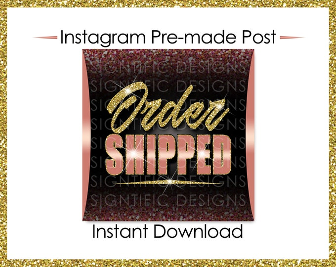 Instant Download, Order Shipped, Glitter Gold Rose Gold, Hair Extensions Flyer, Instagram Post, Digital Online Flyer, Social Media Post