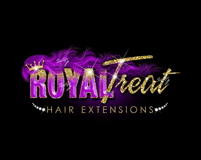Hair Extension Logo, 3D Hair Logo, Hair Business Logo, Bundle Logo, Hair Wrap Logo, Glitter Logo, Wig Logo, Purple Hair Logo, Hair Branding