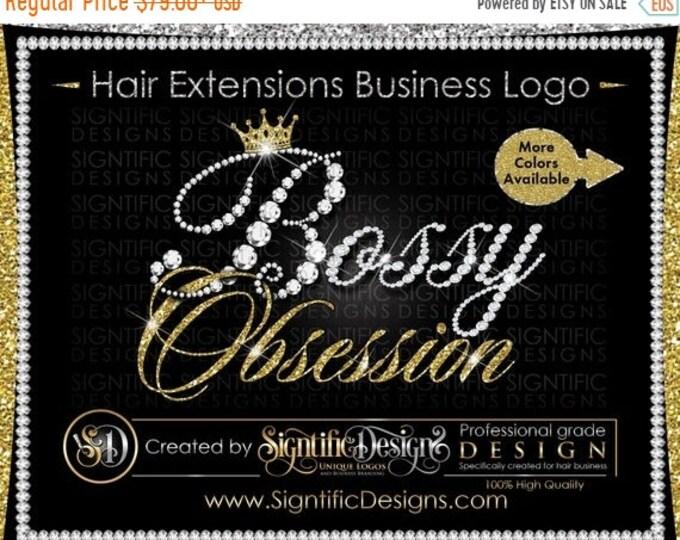 Hair Extensions Logo, Diamond Logo, Bling Logo, Hair Bundle Logo, Glitter Logo, Bling Crown Logo, Hair Brand, Logo Hair, Shimmer Logo Design