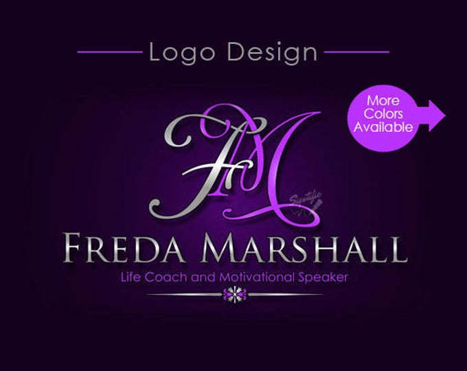 Custom Name Initials Logo and Monogram in Any Colors, Elegant Business Logo Design, Intertwined Lettering Text Logo in Preferred Colors