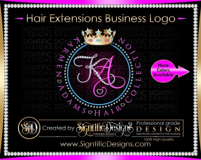 Hair Extensions Logo, Hair Company Logo, Diamond Border Logo, Diamond Logo, Bling Logo, Hair Business Logo, Initials Logo, Wig Business Logo