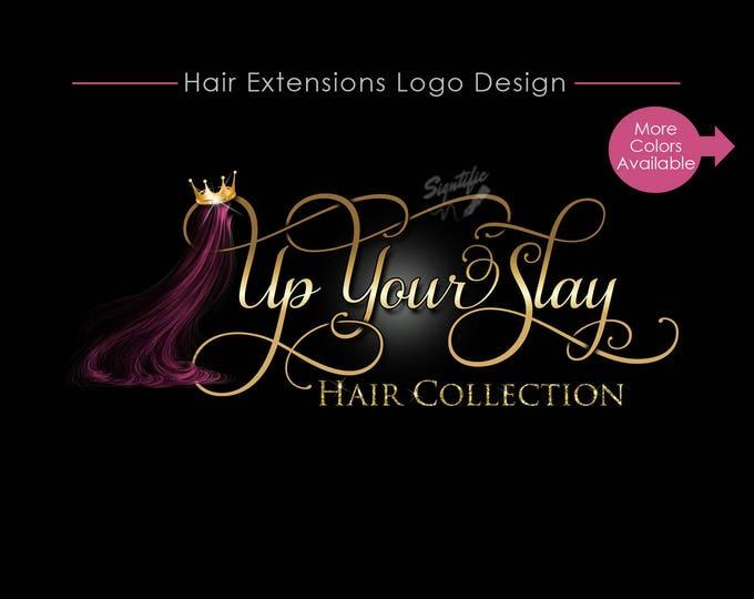 Hair Business Logo, Hair Logo Design, Hair Collection Logo, Hair Extensions Logo, Hair Crown Bling Logo, Hair Strands Logo, Wigs Logo Design