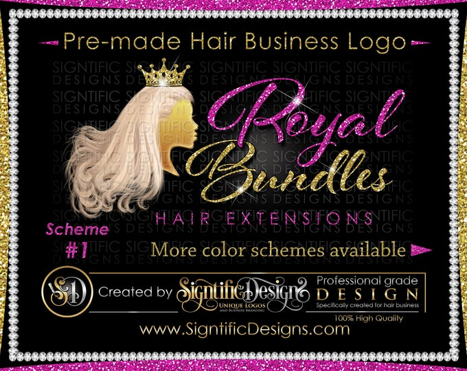 Premade Hair Logo, Hair Extensions Logo, Hair Business Logo, Flowing Pale Hair Logo, Virgin Hair Logo, Hair Bundle Logo, Glitter Bling Logo