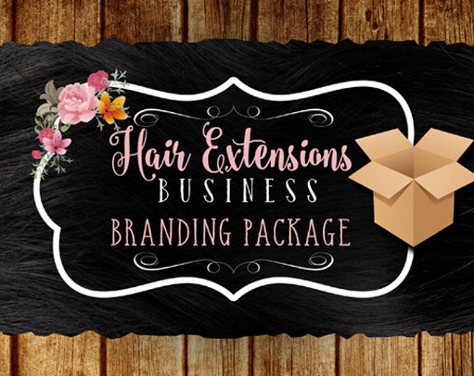 Hair Extensions Business Branding Package, Logo Design and 1000 Hair Tags