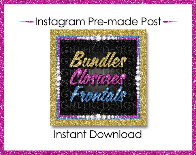 Instant Download, Bundles Closures Frontals, Hair Extensions Flyer, Glitter Gold Pink Blue, Digital Hair Flyer, IG Post, Social Media Flyer