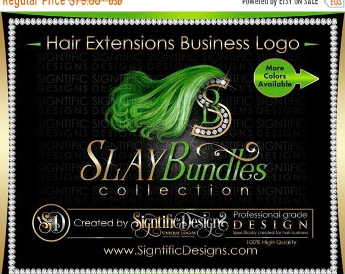 Hair Extensions Logo, Hair Bundle Logo, Hair Business Logo, Bling Logo, Lime Green Hair Logo, Hair Diamond Logo, Virgin Hair Logo, Hair Logo