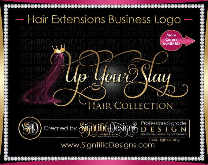 Hair Extensions Logo, Hair Business Logo, Hair Logo Design, Hair Collection Logo, Hair Crown Bling Logo, Hair Strands Logo, Wigs Logo Design