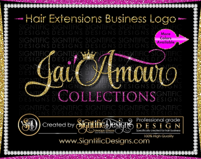 Hair Extensions Logo, Hair Business Logo, Virgin Hair Logo, Hair Collection Logo, Hair Logo Design, Hair Tag Logo, Hair Glitter Crown Logo