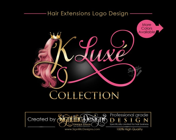 Hair Extensions Logo, Hair Strands Business Logo, Virgin Hair Logo, Hair Logo, Hair Bundle Logo, Hair Tags Logo Design, Hair Company Logo