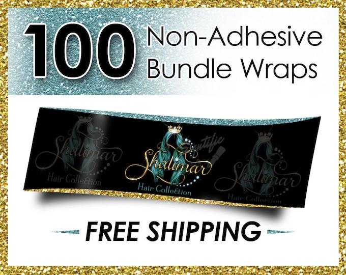 100 Non Adhesive Bundle Wraps, Hair Wraps, Hair Extension Wraps, Hair Labels, Wraps, Hair Business Wraps, Virgin Hair Wraps, Hair Branding
