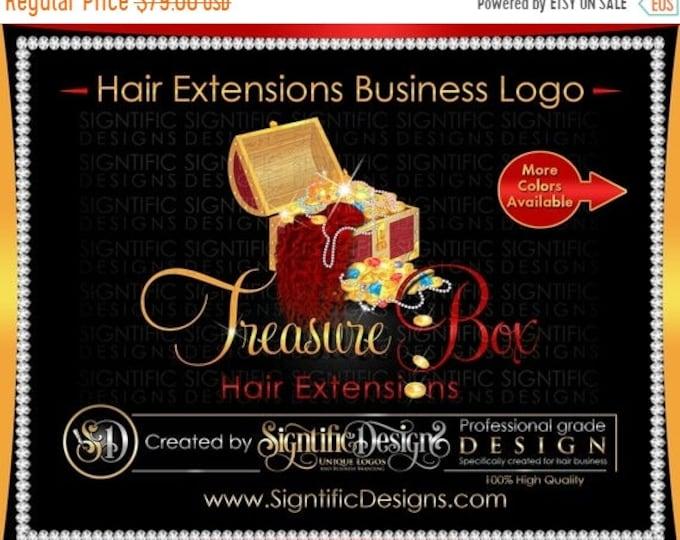 Hair Extension, Logo, Hair Bundle Logo,Treasure Chest Logo, Hair Treasure Logo, Bundle Bling Logo, Hair Packaging Logo, Hair Branding Logo