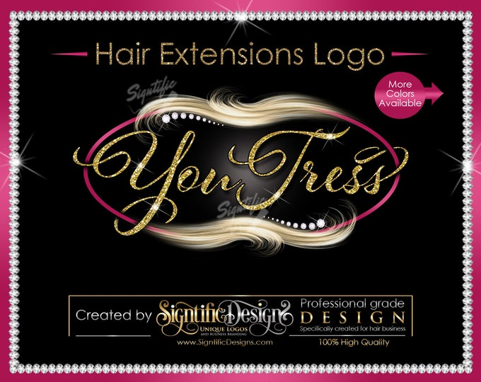 Hair Extensions Logo, Glitter Hair Logo, Flowing Hair Logo, Blond Hair Logo, Diamond Bling Logo, Packaging Logo, Virgin Hair Logo Design