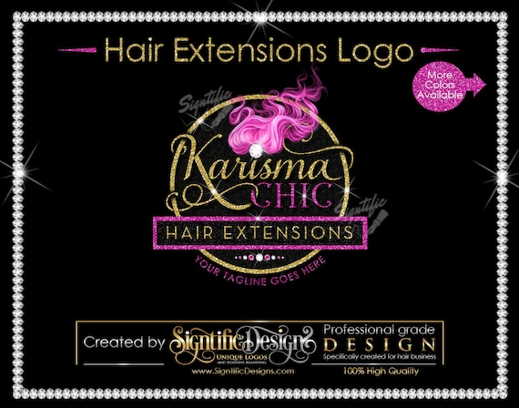 Hair Bundle Logo, Hair Business Logo, Logo Design, Flying Hair Logo, Pink hair Logo, Glitter Bling Logo, Shimmer Logo, Packaging Logo Design