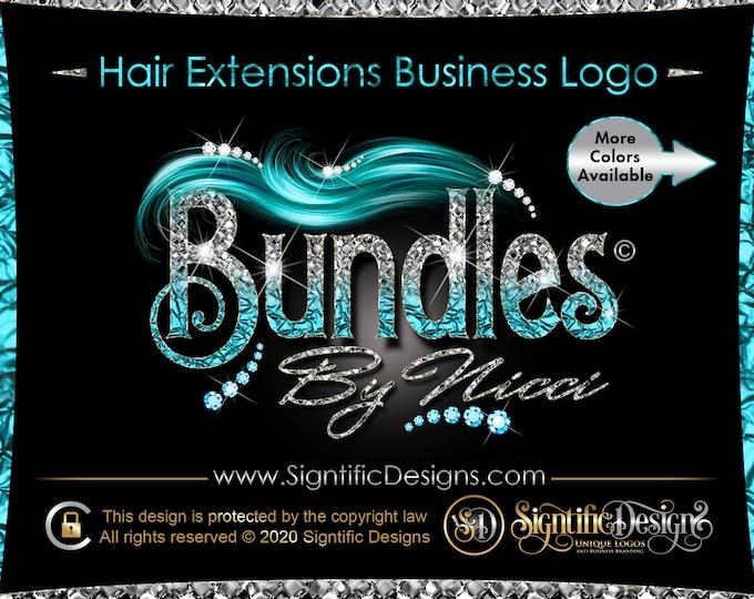Hair logo, Bling Bundle Logo, Hair Extension Logo, Diamond Bling Logo, Hair Business Logo, Wig Logo, Bling  Logo, Hair Branding, Logo Design