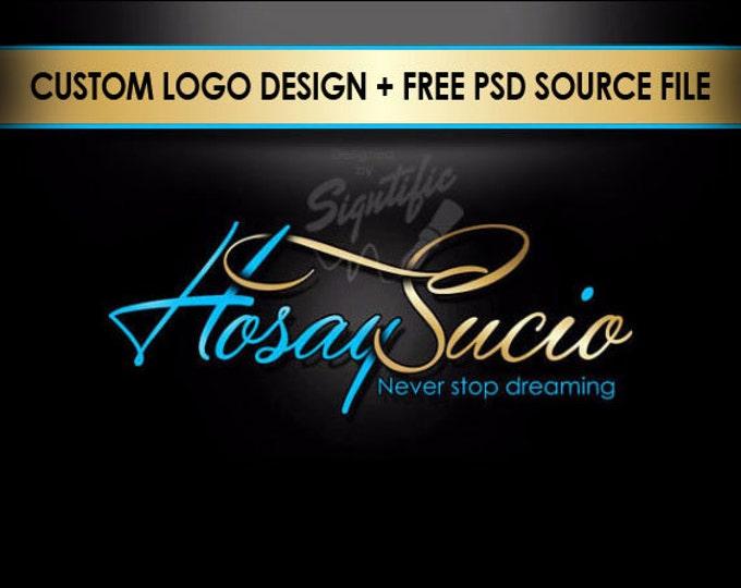 Unique Name Signature Logo, Free PSD source File, Custom Business Logo in Gold and Aqua Blue, Calligraphy Name Brand Design, Website Logo