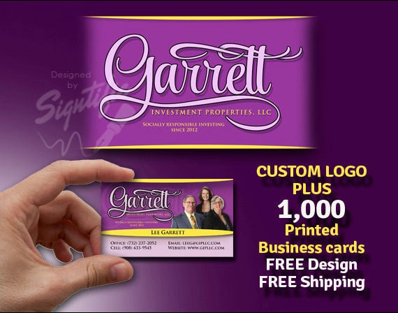 Custom logo with 1000 printed business cards - FREE design - FREE shipping in any colors, high quality business card printing 16 pt stock